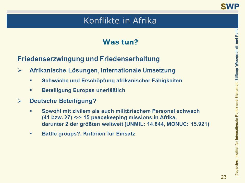Konflikte in Afrika Was tun Friedenserzwingung und Friedenserhaltung
