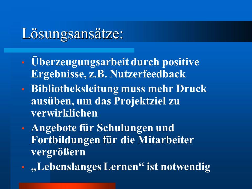 Lösungsansätze: Überzeugungsarbeit durch positive Ergebnisse, z.B. Nutzerfeedback.