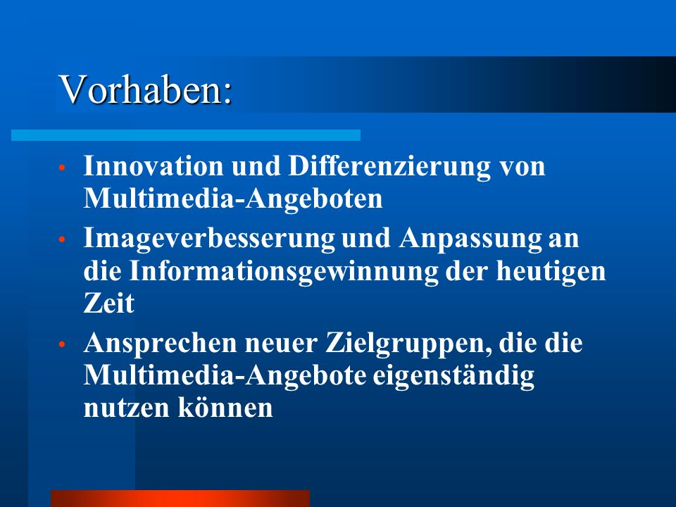Vorhaben: Innovation und Differenzierung von Multimedia-Angeboten