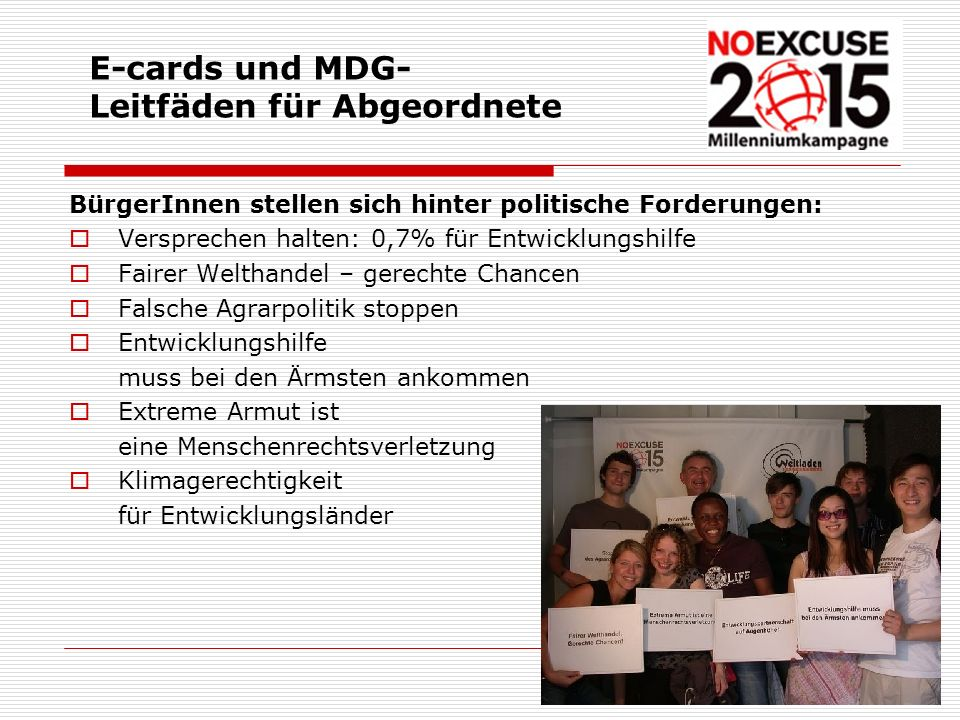 E-cards und MDG-Leitfäden für Abgeordnete