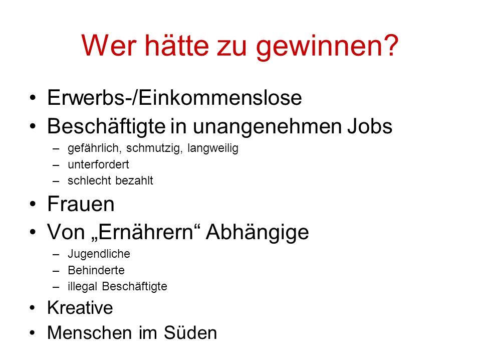 Wer hätte zu gewinnen Erwerbs-/Einkommenslose