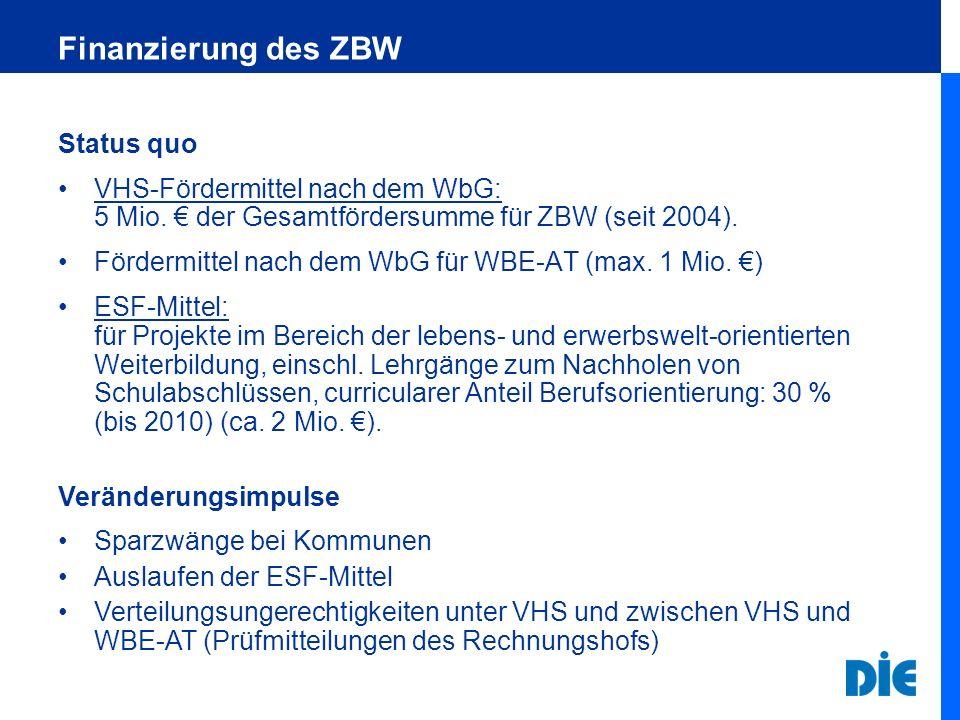 Finanzierung des ZBW Status quo