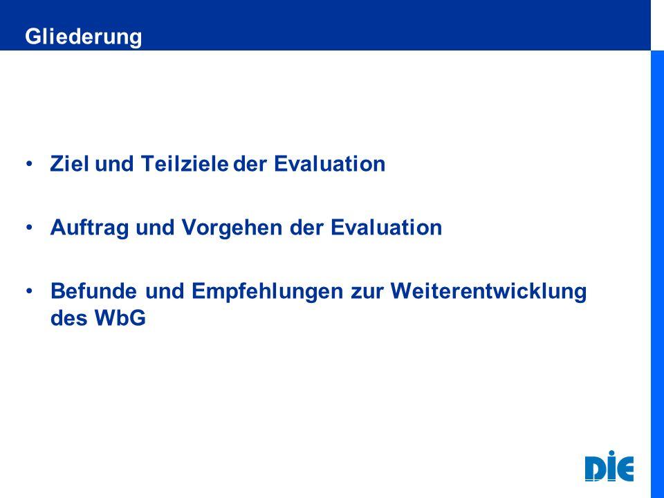 Gliederung Ziel und Teilziele der Evaluation. Auftrag und Vorgehen der Evaluation.