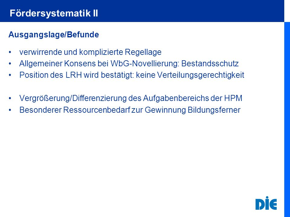 Fördersystematik II Ausgangslage/Befunde