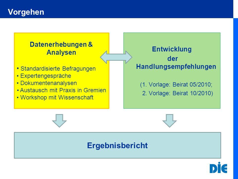 Datenerhebungen & Analysen der Handlungsempfehlungen
