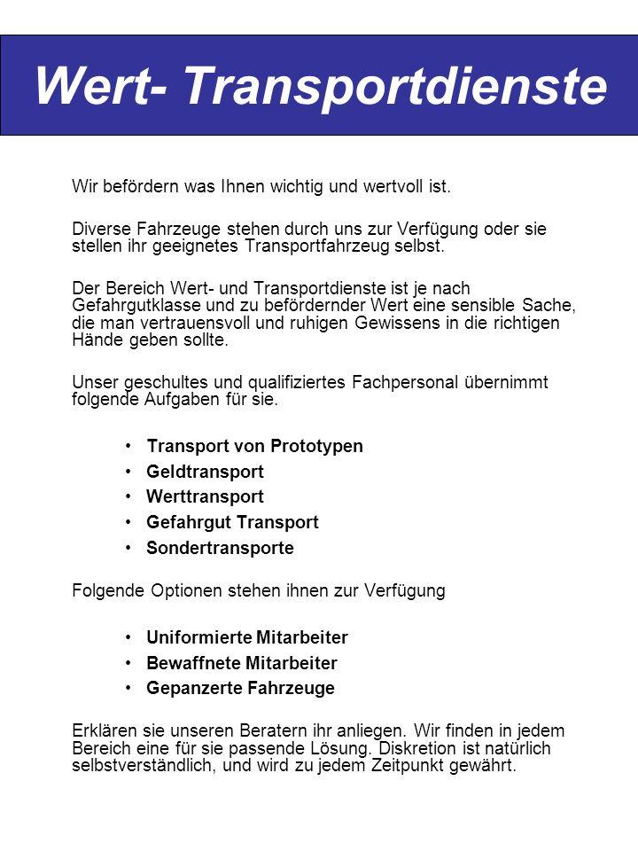 Wert- Transportdienste