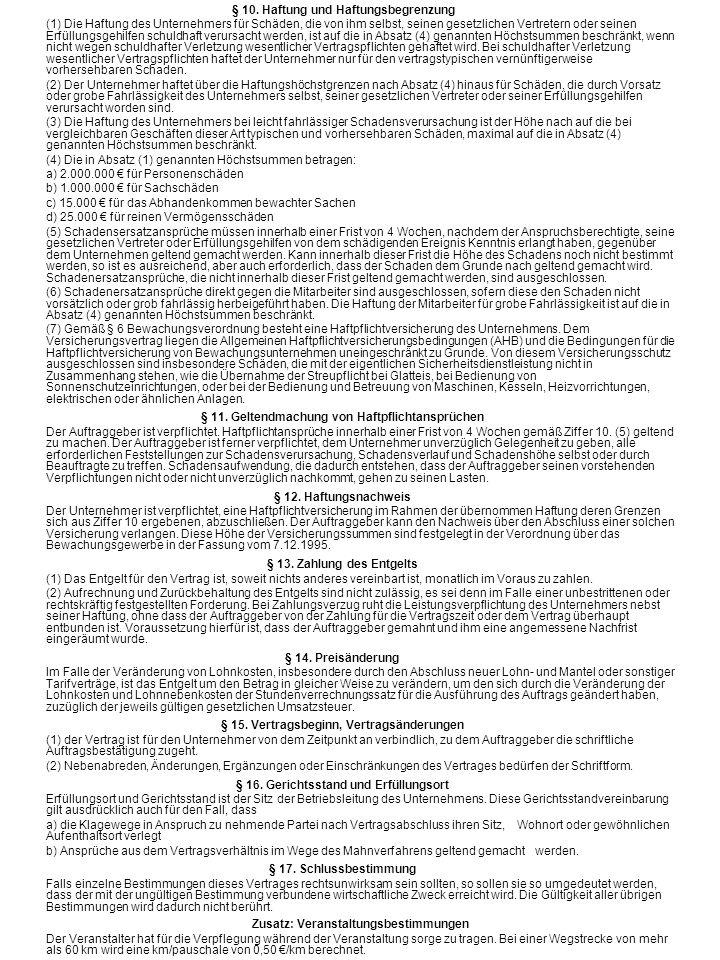 § 10. Haftung und Haftungsbegrenzung