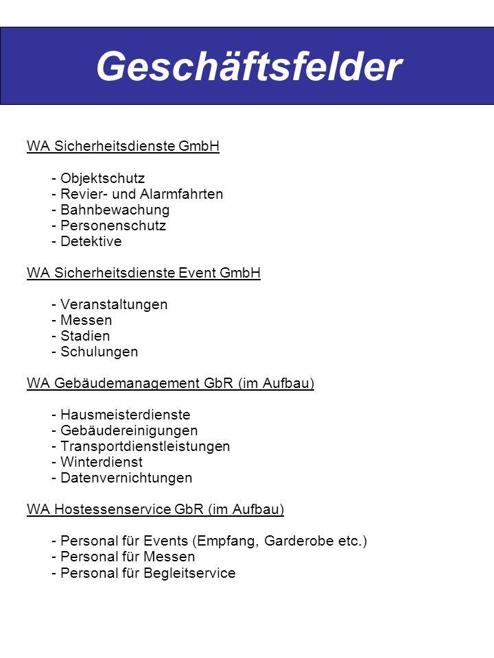 Geschäftsfelder WA Sicherheitsdienste GmbH - Objektschutz