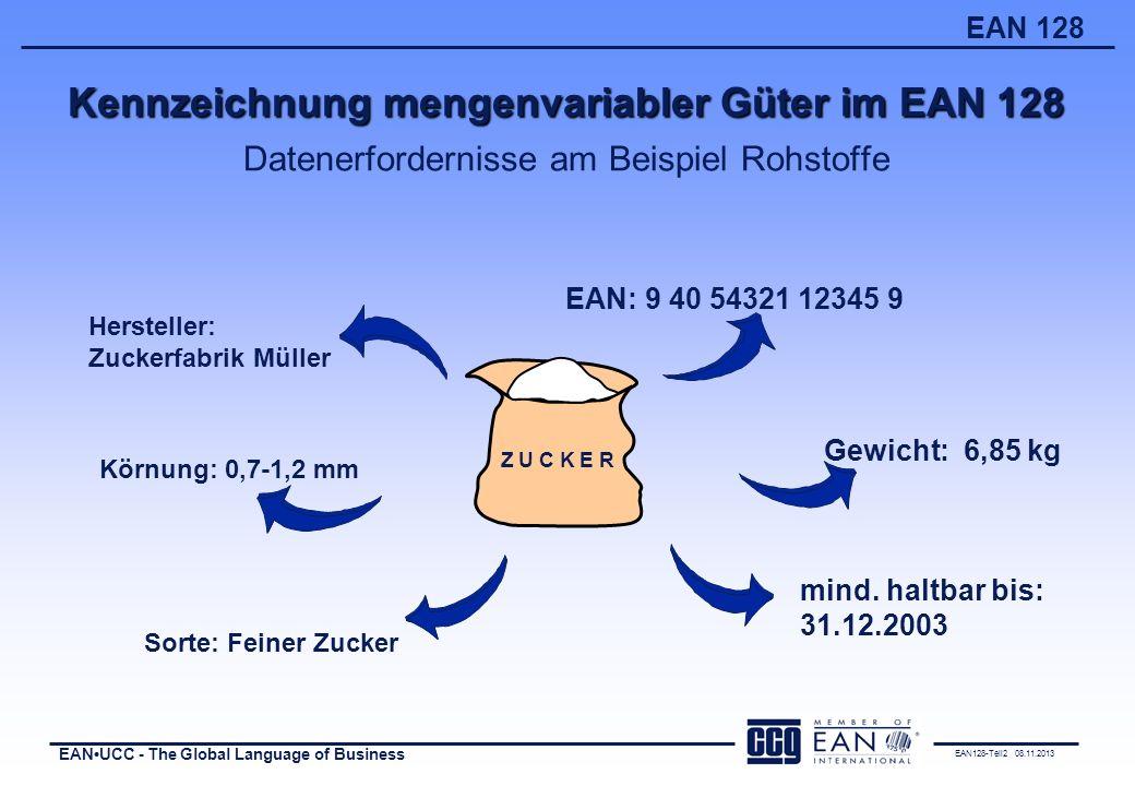 Kennzeichnung mengenvariabler Güter im EAN 128 Datenerfordernisse am Beispiel Rohstoffe