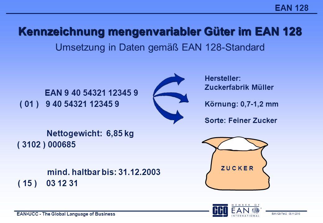 Kennzeichnung mengenvariabler Güter im EAN 128 Umsetzung in Daten gemäß EAN 128-Standard