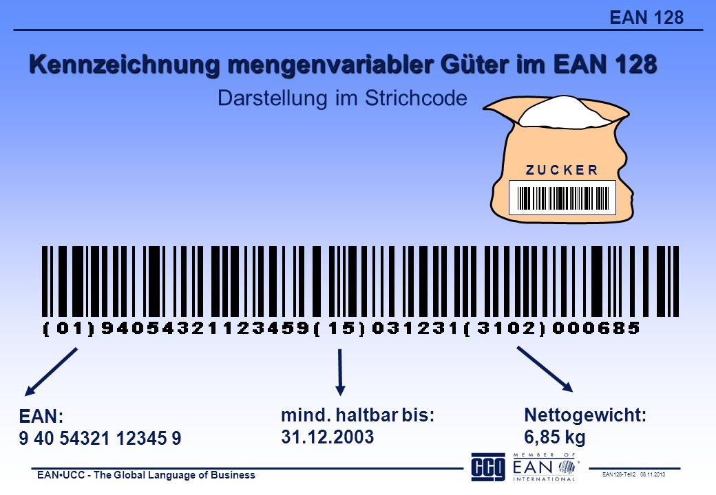 Kennzeichnung mengenvariabler Güter im EAN 128 Darstellung im Strichcode