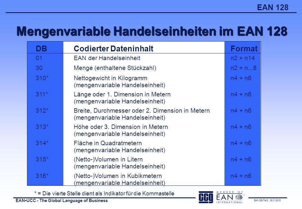 Mengenvariable Handelseinheiten im EAN 128