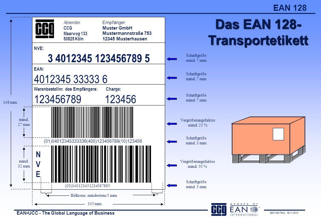 Das EAN 128- Transportetikett