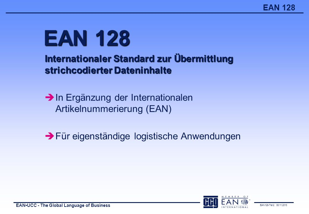 EAN 128 Internationaler Standard zur Übermittlung