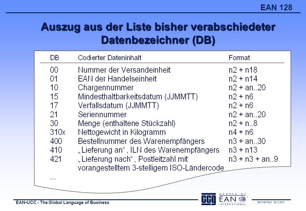 Auszug aus der Liste bisher verabschiedeter Datenbezeichner (DB)