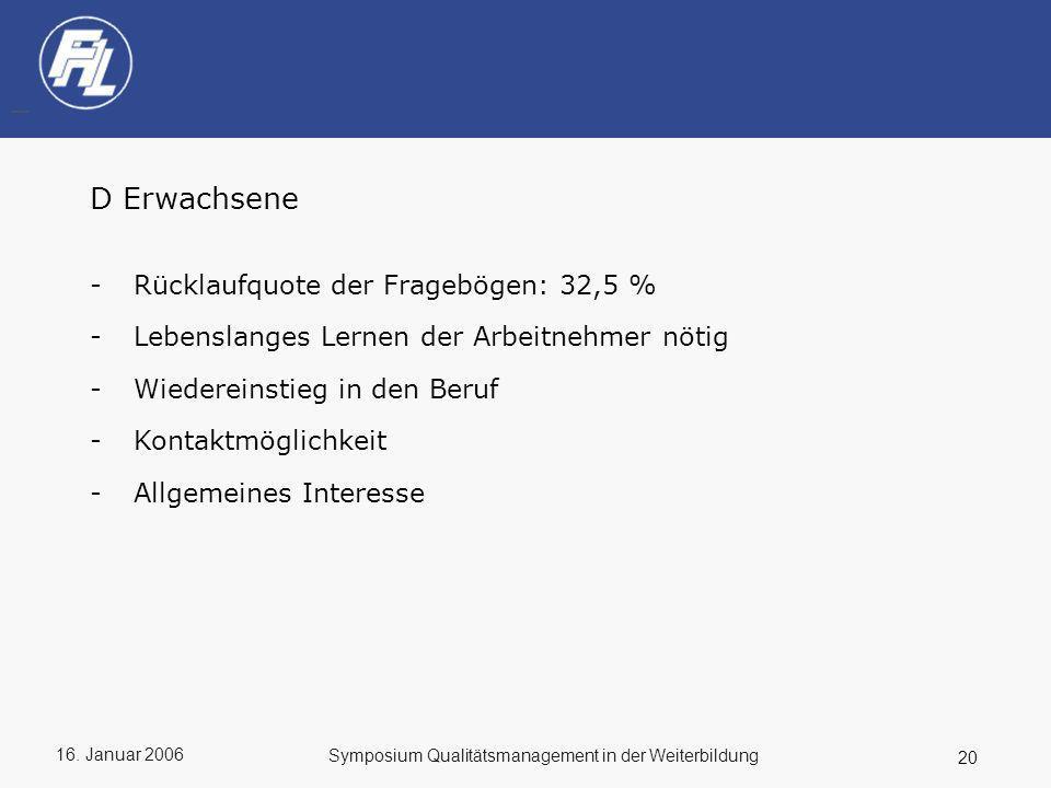 D Erwachsene Rücklaufquote der Fragebögen: 32,5 %