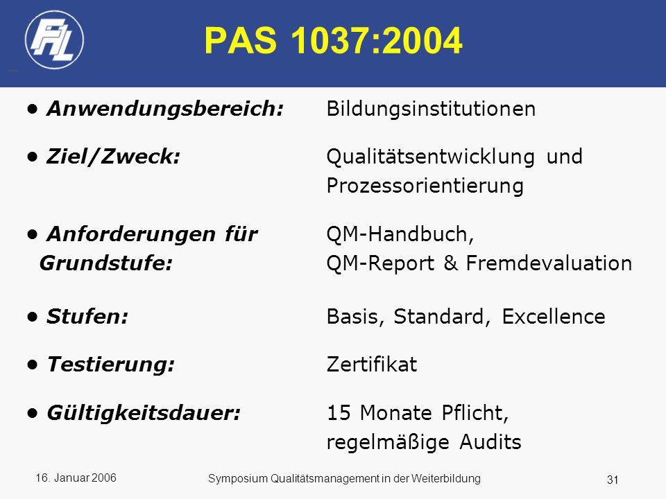 PAS 1037:2004 • Anwendungsbereich: Bildungsinstitutionen