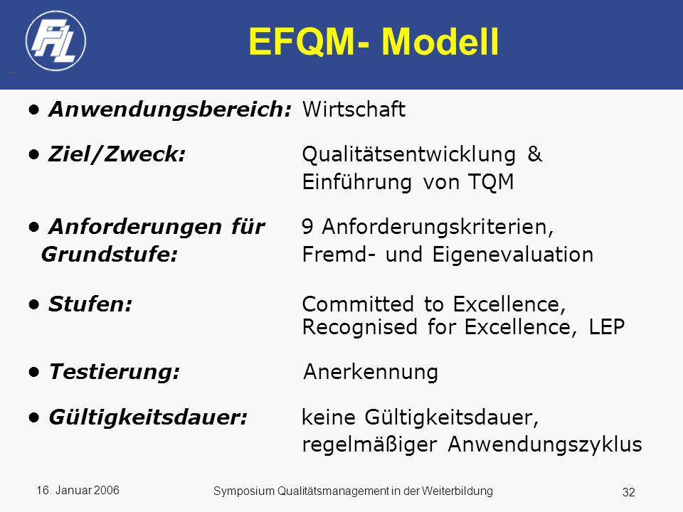 EFQM- Modell • Anwendungsbereich: Wirtschaft