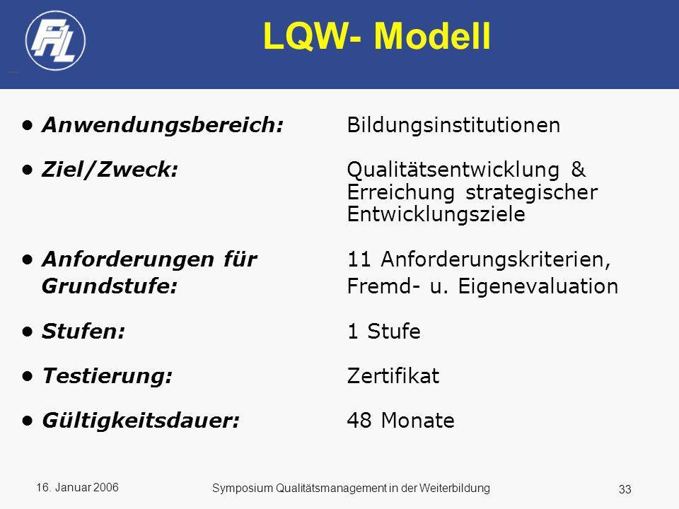 LQW- Modell • Anwendungsbereich: Bildungsinstitutionen