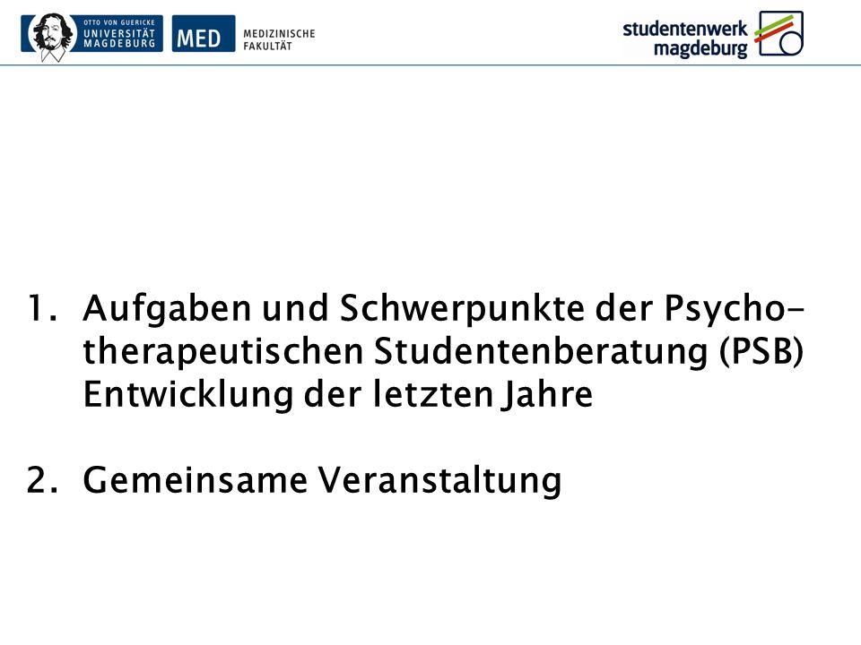 Aufgaben und Schwerpunkte der Psycho-therapeutischen Studentenberatung (PSB)