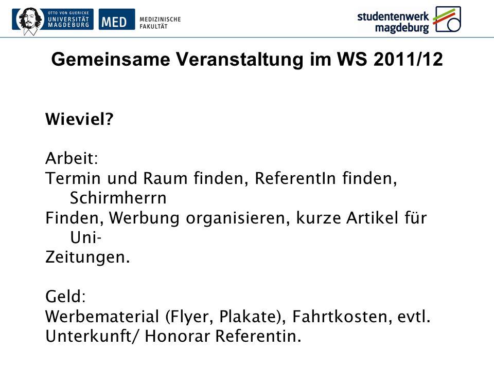 Gemeinsame Veranstaltung im WS 2011/12