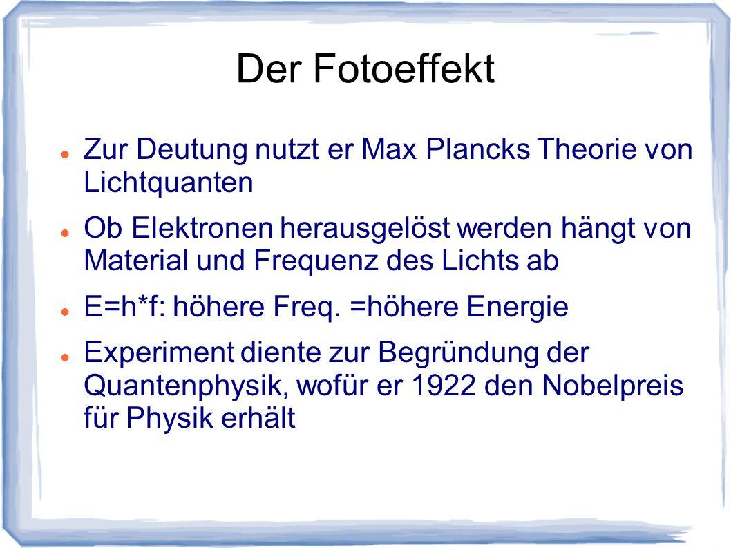 Der FotoeffektZur Deutung nutzt er Max Plancks Theorie von Lichtquanten.