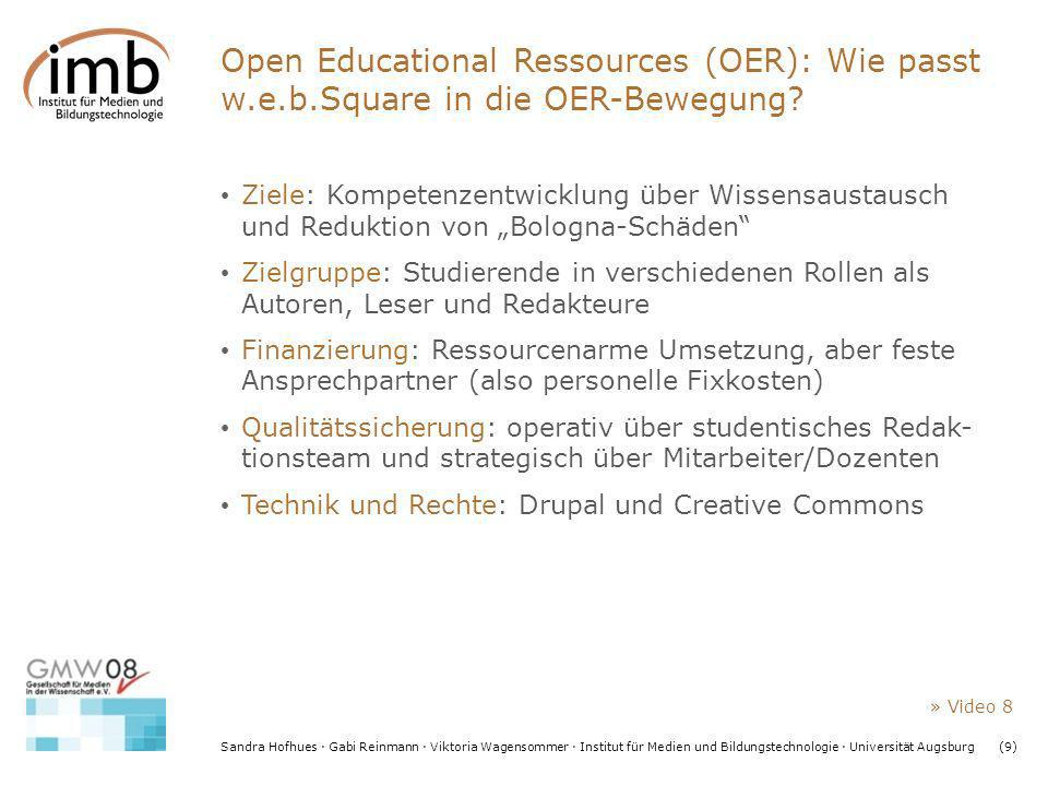 Open Educational Ressources (OER): Wie passt w. e. b