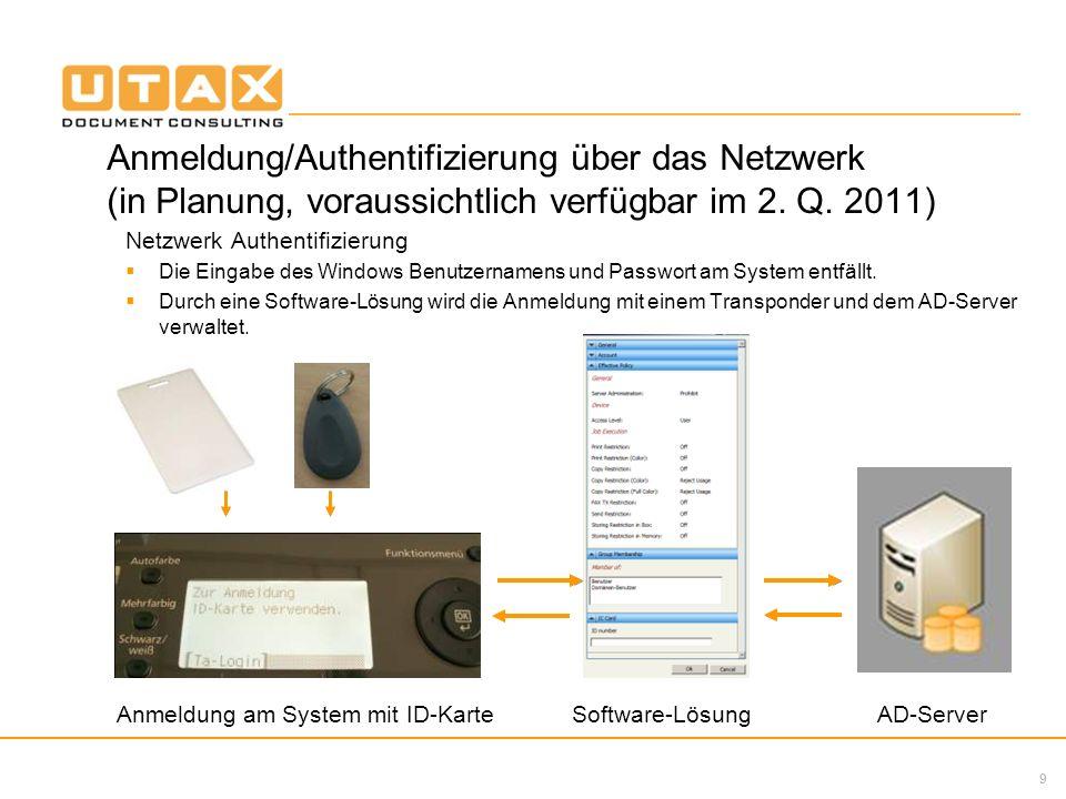 Anmeldung/Authentifizierung über das Netzwerk (in Planung, voraussichtlich verfügbar im 2. Q. 2011)