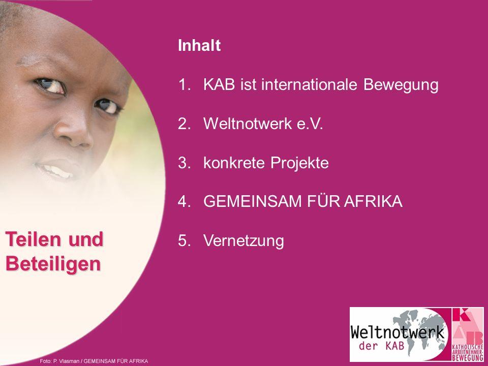 Teilen und Beteiligen Inhalt 1. KAB ist internationale Bewegung