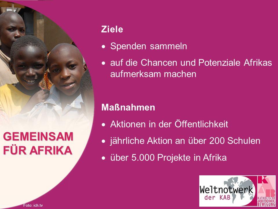 GEMEINSAM FÜR AFRIKA Ziele Spenden sammeln
