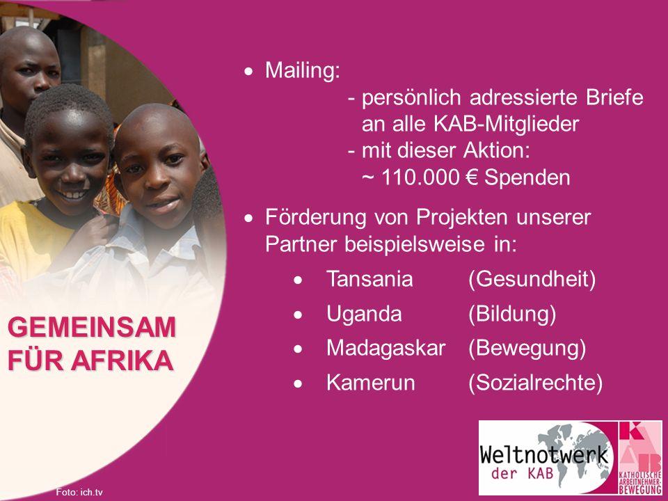 GEMEINSAM FÜR AFRIKA Mailing: