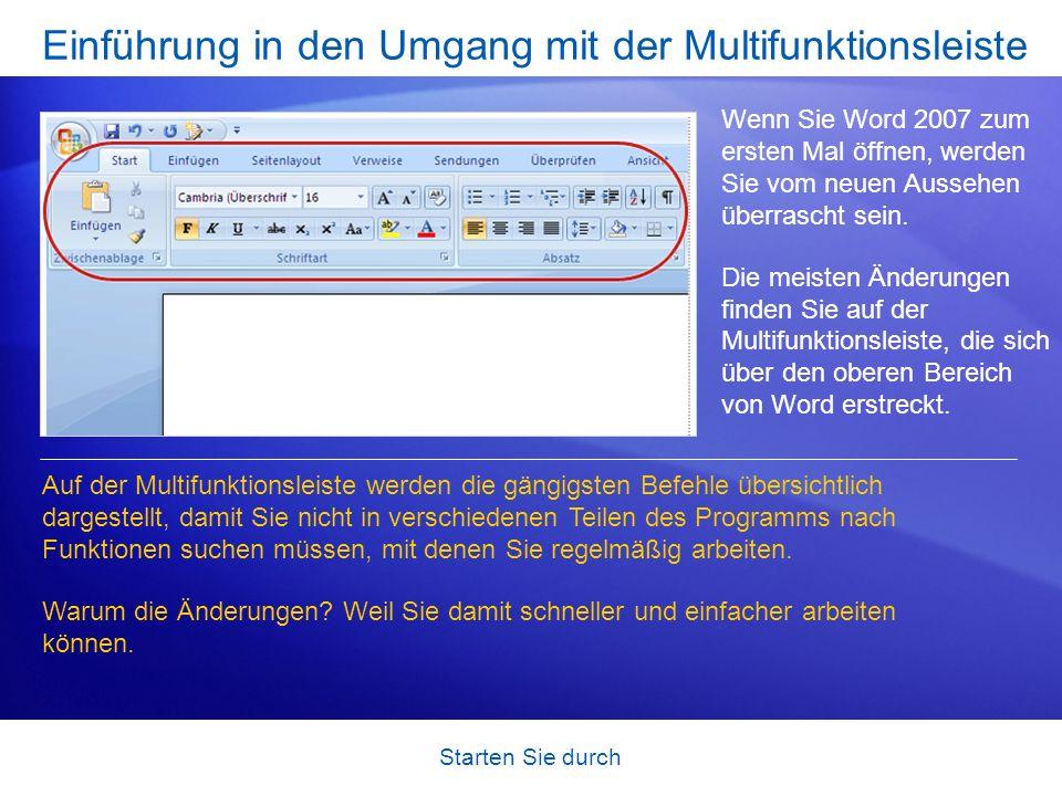 Einführung in den Umgang mit der Multifunktionsleiste