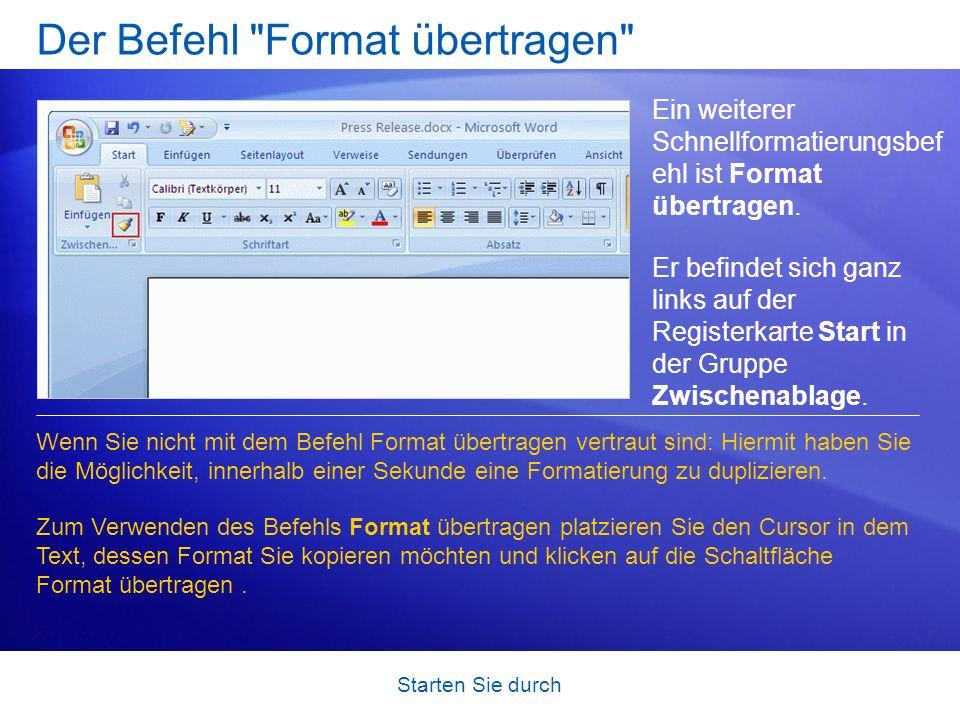 Der Befehl Format übertragen