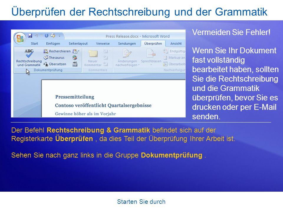 Überprüfen der Rechtschreibung und der Grammatik