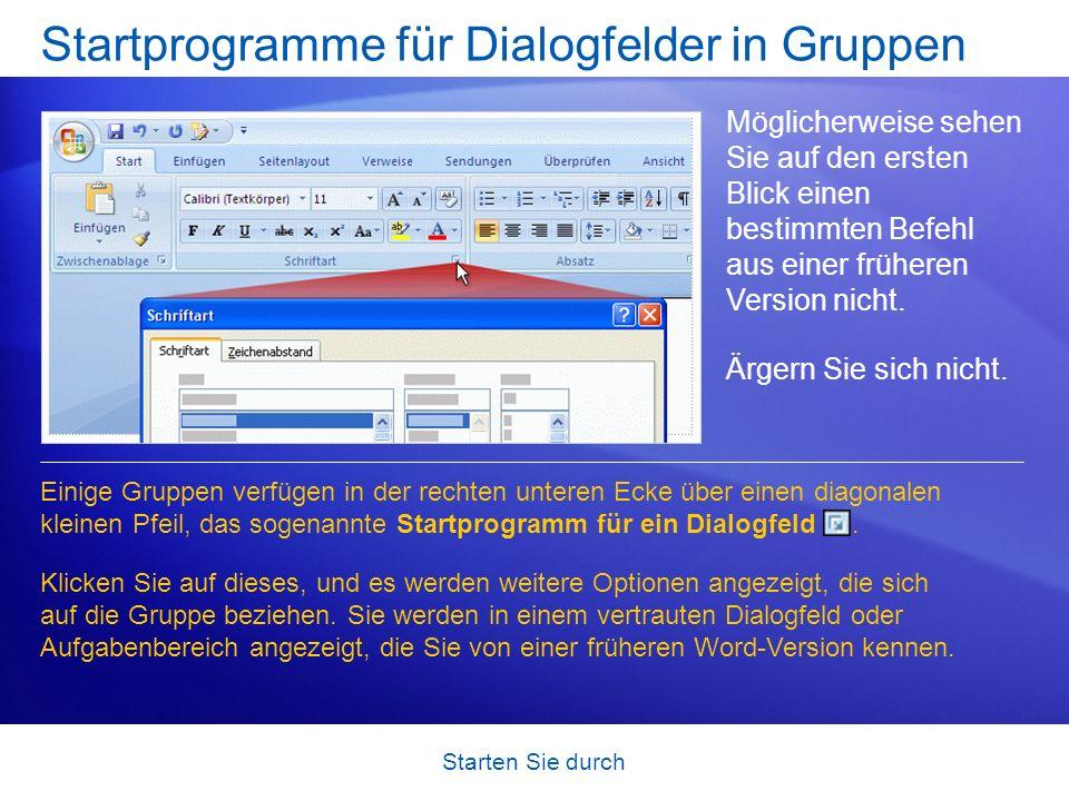 Startprogramme für Dialogfelder in Gruppen