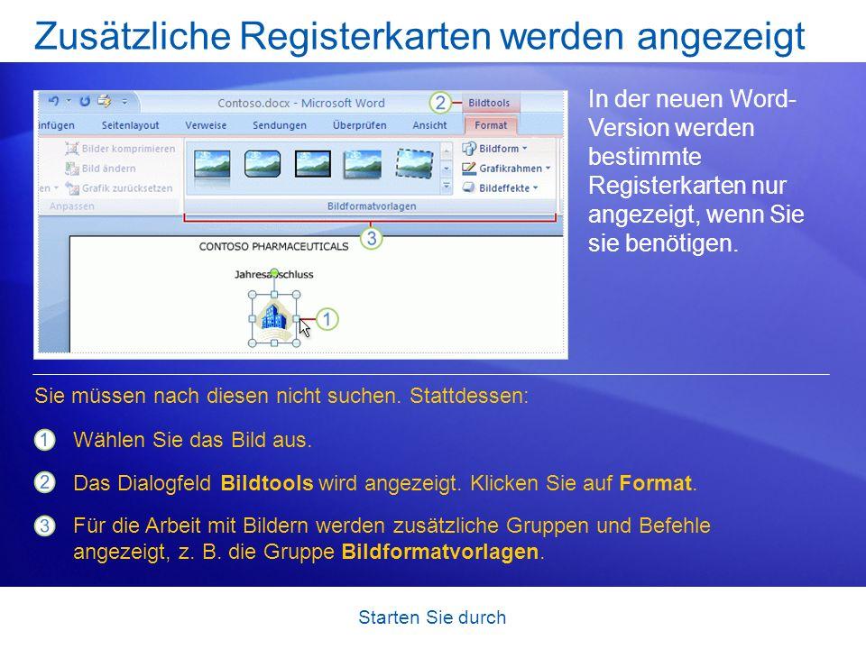 Zusätzliche Registerkarten werden angezeigt