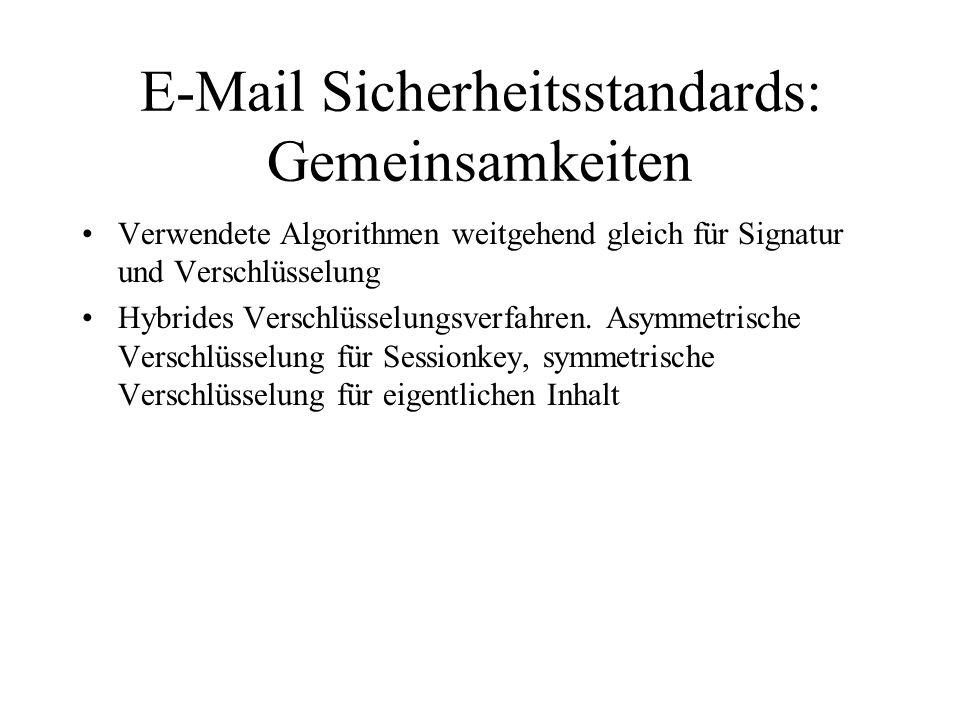 E-Mail Sicherheitsstandards: Gemeinsamkeiten