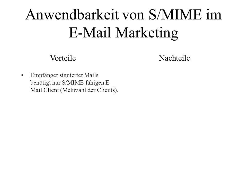 Anwendbarkeit von S/MIME im E-Mail Marketing