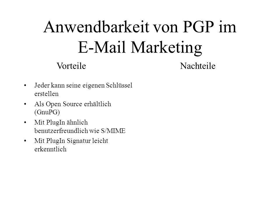 Anwendbarkeit von PGP im E-Mail Marketing
