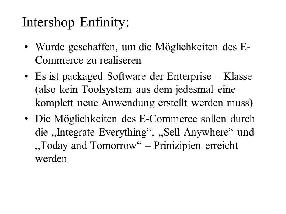 Intershop Enfinity:Wurde geschaffen, um die Möglichkeiten des E-Commerce zu realiseren.