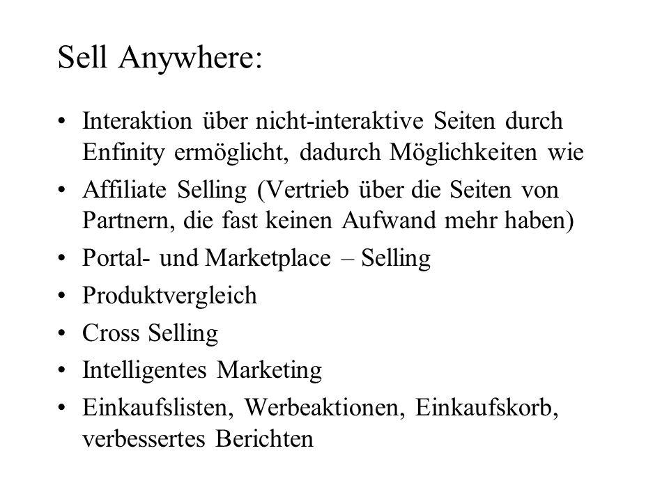 Sell Anywhere: Interaktion über nicht-interaktive Seiten durch Enfinity ermöglicht, dadurch Möglichkeiten wie.