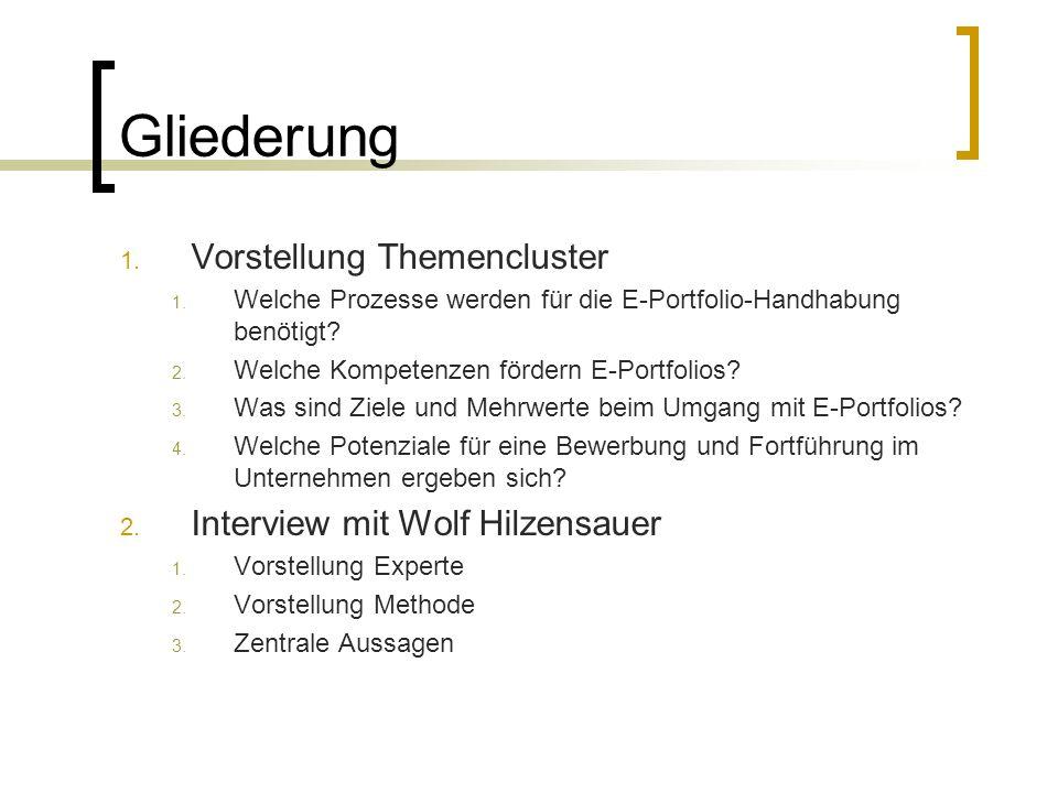 Gliederung Vorstellung Themencluster Interview mit Wolf Hilzensauer