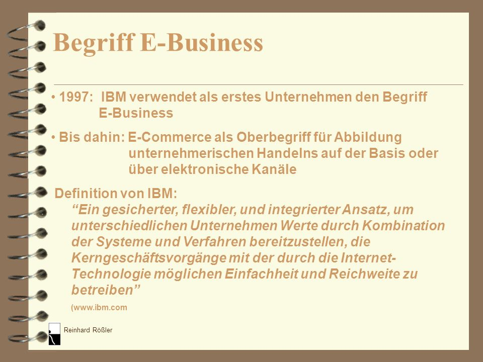 Begriff E-Business 1997: IBM verwendet als erstes Unternehmen den Begriff E-Business.