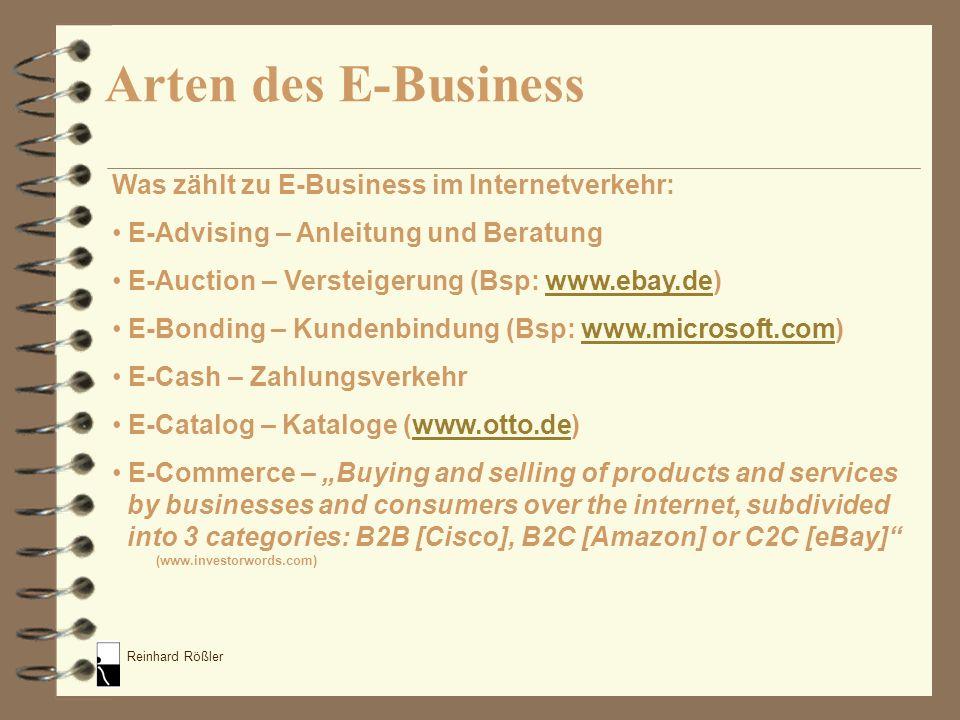 Arten des E-Business Was zählt zu E-Business im Internetverkehr: