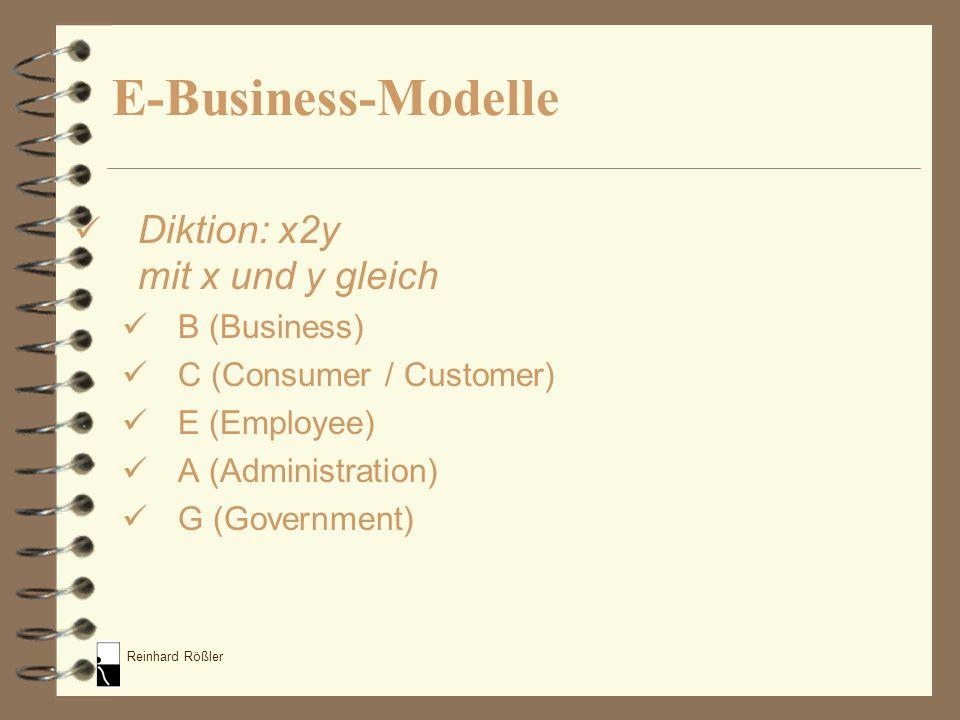 E-Business-Modelle Diktion: x2y mit x und y gleich B (Business)