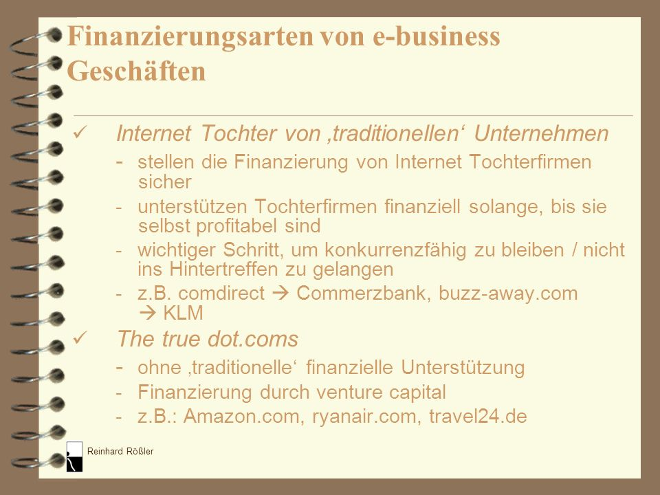 Finanzierungsarten von e-business Geschäften