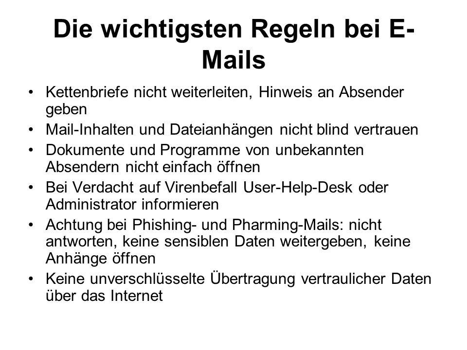 Die wichtigsten Regeln bei E-Mails