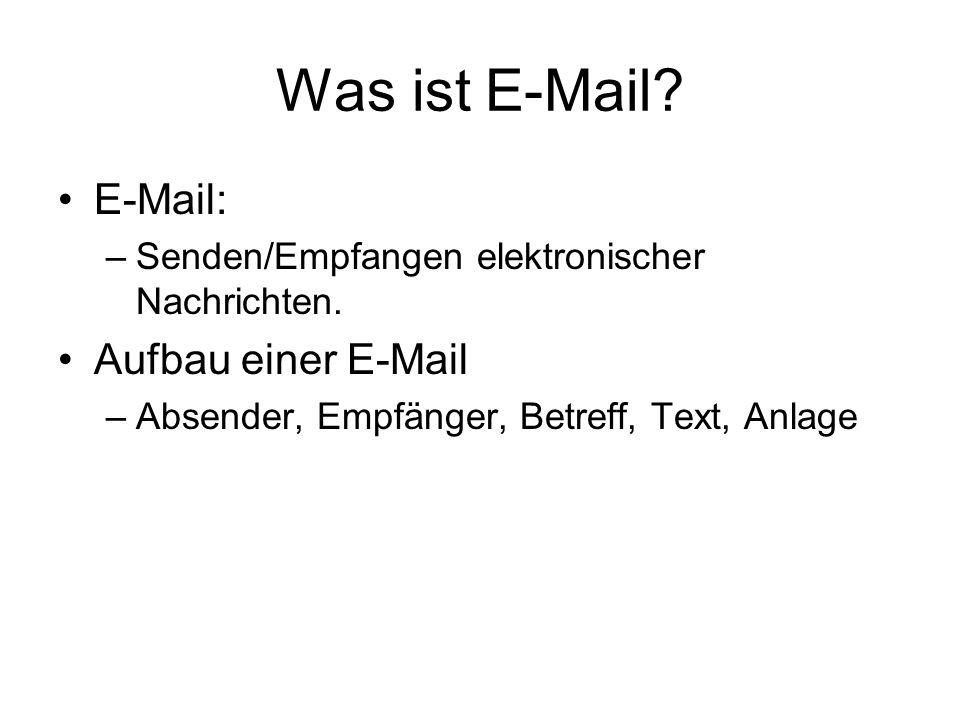 Was ist E-Mail E-Mail: Aufbau einer E-Mail