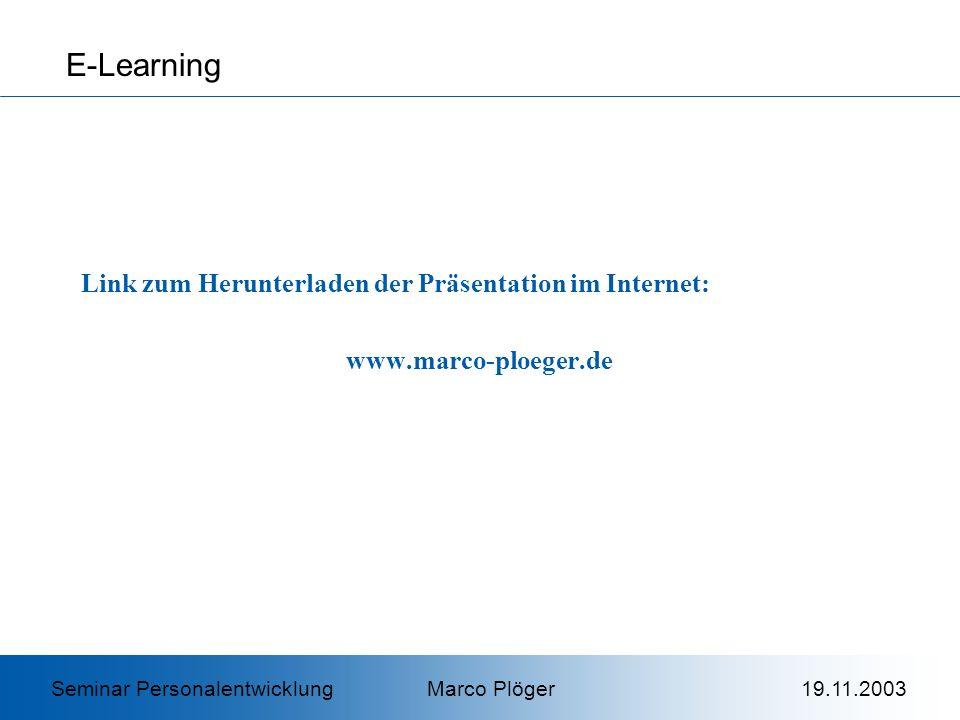 E-Learning Link zum Herunterladen der Präsentation im Internet: