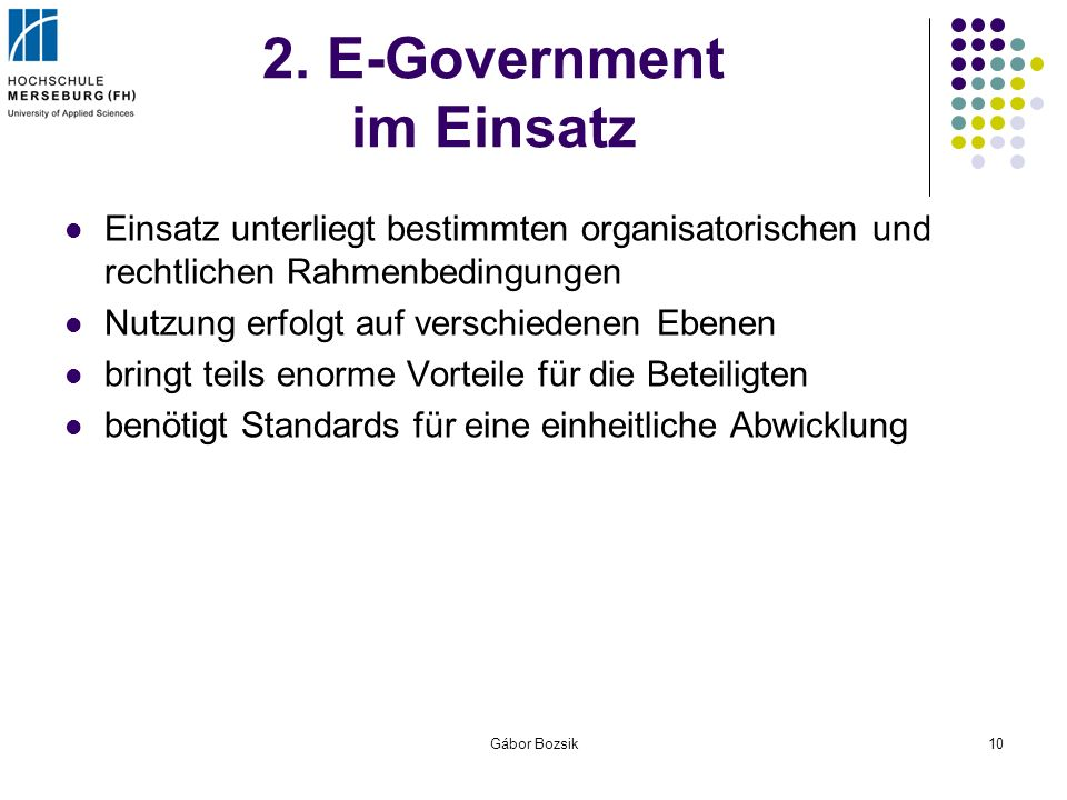 2. E-Government im Einsatz